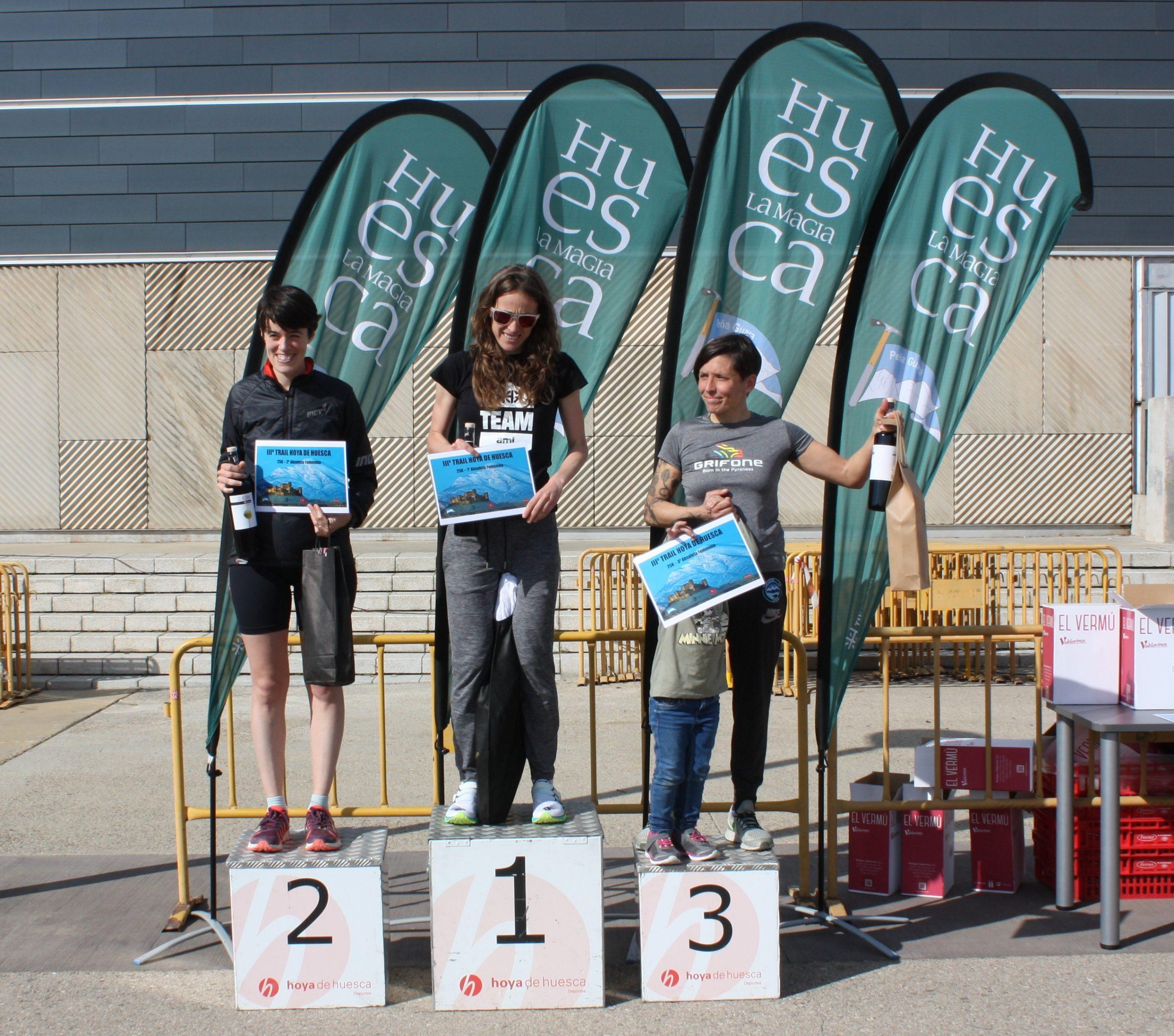 Pódium femenino de la prueba de 25km